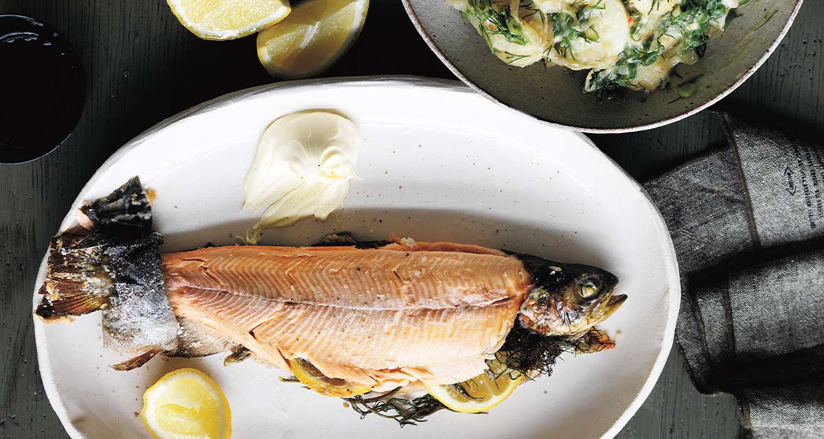 Salt Baked Rainbow Trout With Chicken Stock Potatoes Crme Frache